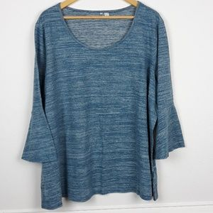 Tops - PLUS SIZE BELL SLEEVE BLUE TOP